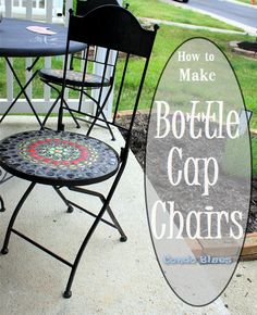 A step by step tutorial how to reuse and recycle beer and soda pop bottle caps to make a bottle cap mosaic chair craft.