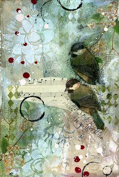 True Friends art journal page by Jill Wheeler, featuring Scrap FX products: Botanical stencil, Harlequin stamp. www.scrapfx.com.au