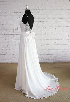 Einzigartige Spitze Mieder Wedding Gown Spaghetti von LaceBridal