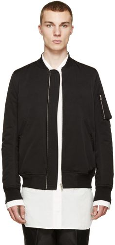 Rick Owens Black Down Bomber Jacket