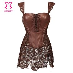 New to ReShop Store Brown Leather Ste... #buy it here http://www.reshopstore.com/products/brown-leather-steampunk-corset-dress