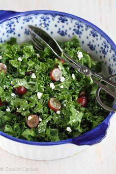 Chopped Kale Salad Recipe with Grapes & Feta Cheese | cookincanuck.com #recipe #salad #vegetarian