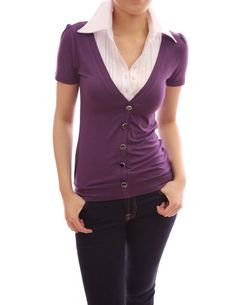 PattyBoutik Unique 2-in-1 Pleated White Shirt Short Sleeve Blouse Top (Purple S) PattyBoutik http://www.amazon.com/dp/B009IAQKZ2/ref=cm_sw_r_pi_dp_SRc4tb0KPJFTN4HJ