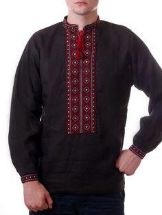Ukrainian HAND Embroidery Men VYSHYVANKA LINEN Black SHIRT Red L Xl 2XL 3 XL 4XL #Handmade #UkrainianFolk