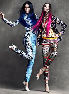 what-do-i-wear:    Wei & DJ by Chris Nicholls for Flare April 2012: dip-dyed ends and clashing patterns.