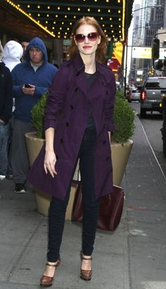 Jessica Chastain outside the Walter Kerr Theatre for her Broadway play The Heiress New York City