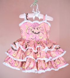 Handmade Girls Pink Tiered Ruffle Dress with Lace Detail