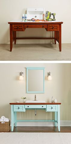 Create a one-of-a-kind bathroom vanity by modifying a desk. It's a fun DIY project, and a great way to make your bathroom something special. We have the tutorial on The Home Depot Blog.