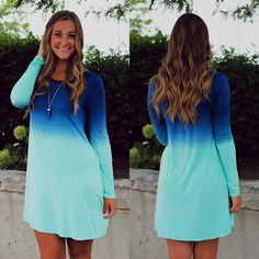 015f17962a7a Blue Ombre Long Sleeve Dress Blue Ombre, Ombre Color, Color Azul, Hair Color