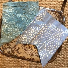Stenciling onto canvas drop cloths and then dyeing them with diluted Chalk Paint®   Aubusson and Napoleonic Blue over the Wallovers Batik Stencil in Old White   Stockist Me & Mrs. Jones