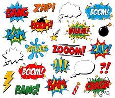 Superhero Clipart Comic Book Clip Art Comic Text by YarkoDesign Superhero Clipart, Baby Superhero, Comic Book Superheroes, Comic Books Art, Scrabble Image, Comic Book Tattoo, Spongebob Birthday Party, Batman Birthday, Book Clip Art