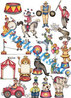 Ventalls: Papeles. Motivo: EL CIRCO. Circus Art, Circus Theme, Circus Illustration, Graphic Illustration, Vintage Circus, Vintage Paper Dolls, Circus Nursery, March Bullet Journal, Circo Vintage