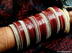 indian wedding cream bangles red http://maharaniweddings.com/gallery/photo/4908