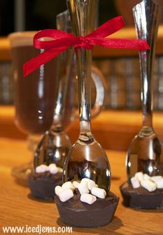 Hot Chocolate Spoons Recipe  Or just use choc - place in card ketchup pots that pull off. Decorate spoons and put in cellophane with instructions - good teacher/fete gifts