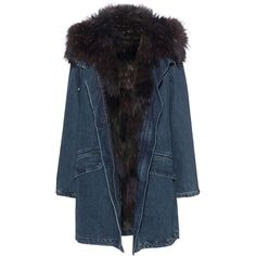 YVES SALOMON Furry Denim Blue // Denim parka with fur lining (€1.879) ❤ liked on Polyvore featuring outerwear, coats, fitted coat, blue coat, fur lined coat, fur-lined parkas and yves salomon parka