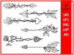 Floral Arrows svg cutting files arrows-hand drawn boho arrows-decorative arrow-svg file-graphic elements svg files for silhouette-SVG cricut Arrow Clipart, Cute Arrow, Hand Drawn Arrows, Arrow Drawing, Arrow Svg, Tribal Arrows, Drawing Clipart, Free Hand Drawing, Arrow Tattoos