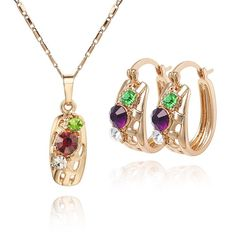 Free shipping - 18K CC color Rhinestone Crystal Gold plated women jewelry set $17.76 SAVE 57% http://jewelry-center.weebly.com/