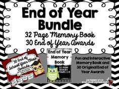The End of the Year Memory Book and Award Packet has everything you need in a BUNDLE!Memory Book Includes:32 Page End of School Year Memory Book perfect for Grades 2-5! Your students will enjoy this packet of information! As a teacher you are able to choose from the packet provided for you to include for your students!