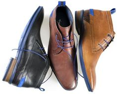 Floris van Bommel // Blue-accented ankle boot for fall/winter 2012 Mens Shoes Boots, Men's Shoes, Shoe Boots, Mens Modern Clothing, Baskets, Mens Fashion Shoes, Men's Fashion, Only Shoes, Dream Shoes