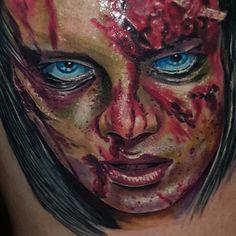 Artist: Huszár Sándor (Alex Hussar) #bloodytattoo #portraittattoo #renegadetattoo #budapesttattoo #tattoobp #renegade #colourtattoo #portrait #horror #horrortattoo #blood #bloody