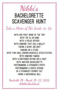 Items similar to Bachelorette Photo Scavenger Hunt on Etsy Bachlorette Party, Britt Bachelorette, Bachelorette Bucket Lists, Bachelorette Scavenger Hunt, Bachelorette Party Shirts, Bachelorette Weekend, Wedding Party Shirts, Bridesmaid Duties, Party Planning