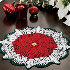 I've seen plenty of doilies with that diamond center... so just make it red!