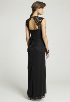 Bridesmaid Dresses - Long Mesh Dress with Lace Capped Sleeve from Camille La Vie and Group USA Lace cap sleeves are to die for especially if my dress reflects this style don't really like the rouching on the back