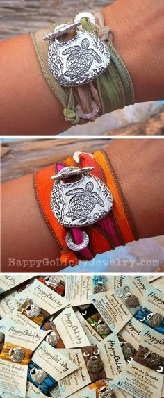 Sea Turtle Jewelry, Silk Wrap Bracelets by HappyGoLicky. Pearl Jewelry, Jewelery, Sea Turtle Jewelry, Jewelry Crafts, Handmade Jewelry, Silk Wrap Bracelets, Turtle Love, Turtle Ring, Tortoises