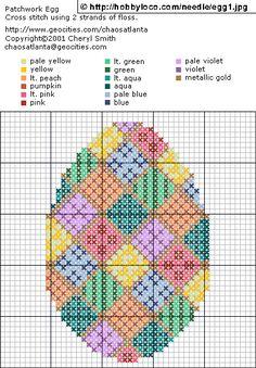 'Patchwork Egg' geborduurd in kruissteek - Fimo- en ander creatief gefröbel