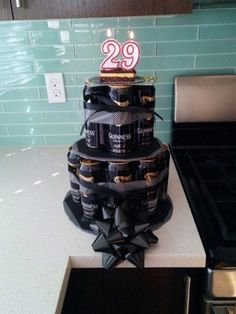 "My fiancé doesn't like cake. Or anything sweet. Here's the ""cake"" I made him for his birthday. Beer Birthday Party, Birthday Gift For Him, Birthday Presents, 40th Birthday, Beer Can Cakes, Cake In A Can, Alcohol Gifts, Gift Cake, Boyfriend Birthday"