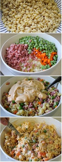 Ingredients: 5 cups cooked small shell pasta (approximately 3 cups dry) 3/4 cup diced raw carrots 1/4 cup diced onion… No peas please! by MarylinJ