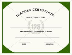 Looking for a printable certificate for any training you provide with a deep green border with an ivory background gives the most elegant look to this training certificates templates this pdf template can use to give yadclub