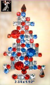 Patriotic Christmas Tree Pin - Nostalgic America - Antique & Collectible Exchange