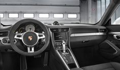 #Porsche #911 #GT3: The interior of the new 911 GT3 is dominated by Alcantara, leather, and interior parts in Galvano Silver as well as brushed aluminum in Anthracite. Learn more: http://link.porsche.com/gt3?pc=99181PINGA  Combined fuel consumption in accordance with EU 5: 12,4 l/100km, CO2 emissions: 289 g/km