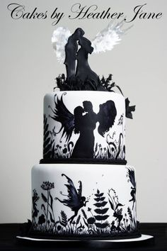 www.cakecoachonline.com - sharing....Black and White Hand Painted Fairy Wedding Cake