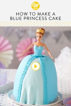 Watch and learn how to make this lovely Blue Sparkle Princess Cake using the Princess Cake Pan Set from Pansino's Baking Line! Featuring a lovely pleated skirt made of beautiful blue fondant, Barbie Torte, Barbie Cake, Camo Wedding Cakes, White Wedding Cakes, Easy Princess Cake, Barbie Birthday, Princess Birthday, Sophia Cake, Cupcake Cakes