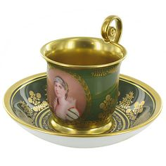 """Cup and saucer with """"Portrait of Josephine"""""""