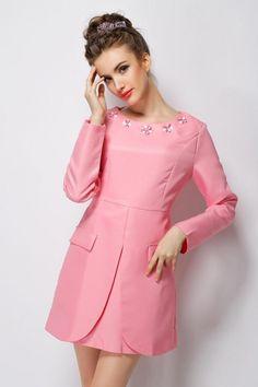 Pink A Line Gemstone Embellished Fitted Dress