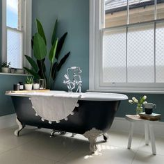 Room Tour | Style the Clutter Oval Room Blue, Metallic Wallpaper, Room Tour, Farrow Ball, Bathroom Wall, Master Bathroom, Bathroom Ideas, Interior Walls, Kitchen Colors