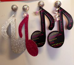 Music note invites - Disco Party for girl's 5th birthday - hand made