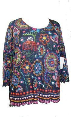 407ff76e098 AMMA Design Forgotten Dreams Artistic Top hand printed plus size  contemporary knit tunic in sizes XL