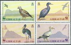 Sello: Birds (Gibraltar) (Endangered Species.  Birds.) Mi:GI 619-622,Sn:GI 594a