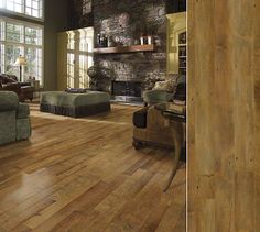 Shaw hardwood reminiscent of reclaimed wood. Maple floor in style Olde Mill maple, color Sunset Splendor.  While it takes most hardwood trees 40-60 years to mature, the inventory planted today won't be needed for 100-plus years (Source: National Wood Flooring Association)    Www.yonancarpetone.com