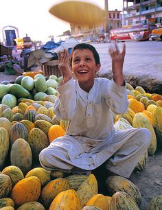 Melon Selling Boy by jslee, Mezar-i Sherif, Sare Pol, Afghanistan via TrekEarth