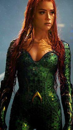 """Amber Heard As Mera """"Aquaman"""" Amber Heard Bikini, Amber Heard Hot, Amber Heard Movies, Amber Heard Images, Amber Heard Style, Amber Head, Aquaman 2018, Aquaman Comics, Mera Dc Comics"""