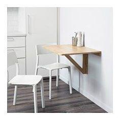 IKEA - NORBO, Mesa abatible de pared, Al ser plegable, puedes ahorrar espacio cuando no la uses.La madera maciza es un material natural muy resistente.