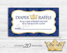 Instant Download Royal Blue Prince Baby Shower Diaper Raffle Cards, Printable Prince Diaper Prize Drawing, Crown Theme Baby Shower 66C