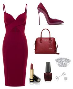 """""""Loving maroon"""" by skylak1387 ❤ liked on Polyvore featuring Casadei, Kate Spade, Gucci, OPI and Amanda Rose Collection"""