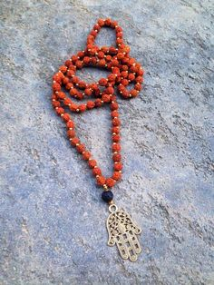 Traditional Mala Necklace ~ 108 Buddhist Prayer Beads ~ Hamsa Hand Protective Necklace ~ Energy Necklace ~ Yoga Necklace ~ Rudraksha Necklace ~ Ling Bohemian Necklace This is the new line of my mala necklaces, this time without the tassel. Unisex necklace can be worn also as a