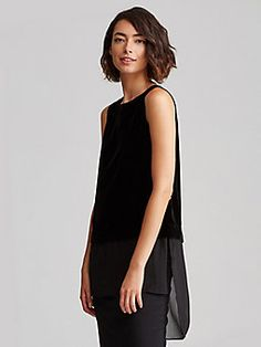 Bateau Neck Boxy Shell in Velvet with Sheer Silk Georgette Trim